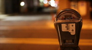 Stock Video Footage of Empty parking meter at night