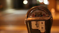 Empty parking meter at night Stock Footage