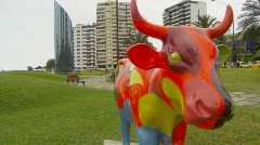 Art cow in Lima Peru Stock Footage