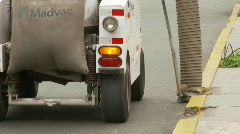 Street cleaning vacuum vehicle on roadway, #2 Stock Footage
