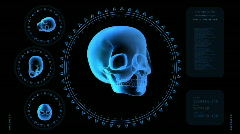 Hi-tech Scan Screen - Skull 03 (HD) Stock Footage