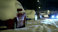 Cars in the Snow Stock Footage