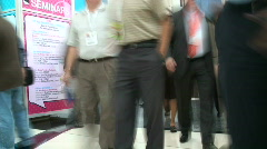 Crowded tradeshow - stock footage