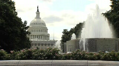 US Capitol Left Justified with Fountain - stock footage