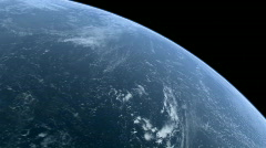 Stock Video Footage of Stationary Orbit over CG Earth's Ocean 1080p HD