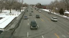 Cars Driving by Shot From Above Stock Footage