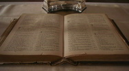 HD1080p Holy Bible in the Church on altar Stock Footage