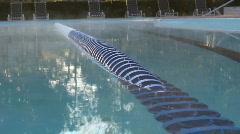 Foggy Mist Rises Of Heated Swimming Pool 02 Stock Footage