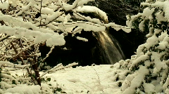 Waterfall in the winter snow 2 Stock Footage