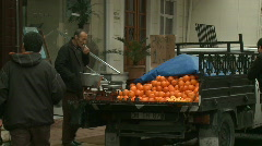 fruit seller and art store - stock footage