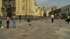 Pigeons fly from city square, #1 Stock Footage