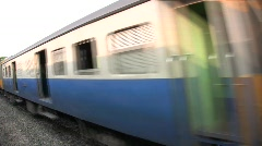 Thai Tropical Train Zooms By Railroad Travel Passenger Trip Adventure Journey - stock footage