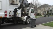 Stock Video Footage of Garbage Truck Picks up Trash