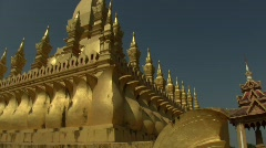 The Golden Stupa, national symbol of Laos. Stock Footage