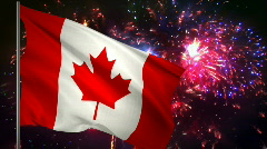 Flag of Canada and fireworks  Stock Footage