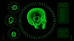 Hi-tech Scan Screen - Skull 05 (HD) Stock Footage