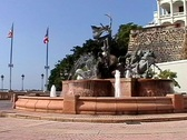 Stock Video Footage of Old San Juan Fountain-Puerto Rico