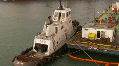 Maritime transportation, tug and fuel barge Stock Footage