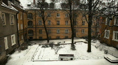 Snowing on a courtyard Stock Footage