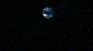 Rotating  Earth, stars, space, fantastic rays Stock Footage