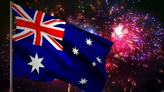 Flag of Asutralia and fireworks  Stock Footage