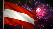 Stock Video Footage of Flag of Austria and fireworks