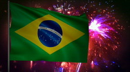 Stock Video Footage of Flag of Brazil and fireworks