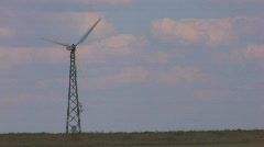 HD wind turbine, blue sky and clouds background - stock footage