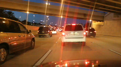 Blurry Stylized Lights Traffic Jam On The Interstate Stock Footage