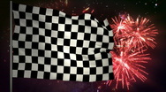 Stock Video Footage of Race finish flag and fireworks