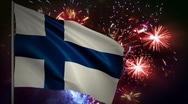 Stock Video Footage of Flag of Finland and fireworks