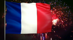 Flag of France and fireworks  Stock Footage