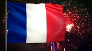 Stock Video Footage of Flag of France and fireworks