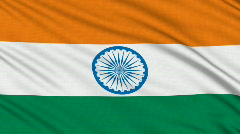 Indian flag, with real structure of a fabric - stock footage