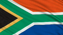 South Africa flag, with real structure of a fabric Stock Footage