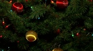 Christmas tree decorated with lights balls and ornaments. Santa Stock Footage