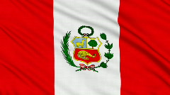 Peruvian flag, with real structure of a fabric - stock footage