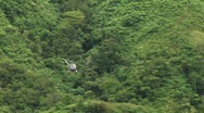 Stock Video Footage of Jungle Helicopter Flybye 04