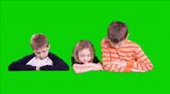 Green screen three kids popup Stock Footage