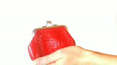 Hand insert coin in the purse and show thumb up sign Stock Footage