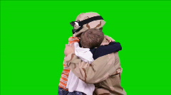 Green screen welcoming soldier daddy home Stock Footage