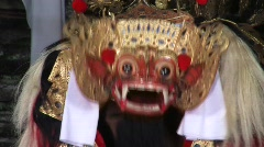 Demon Mask Dance Barong Dancer Traditional Asian Culture Bali Indonesia Stock Footage