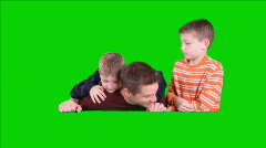 Dad and Kids Popup Green Screen Stock Footage