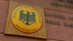 German diplomatic sign, high commision Stock Footage