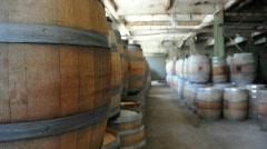 Rack Focus of Wine Barrels Stock Footage