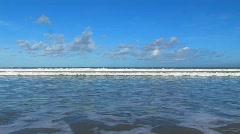 Sea and waves on the ocean shoreline horizon beach sea paradise idyllic sand  Stock Footage