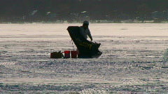 Ice fishing on one of Michigan's many frozen lakes. Stock Footage