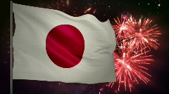 Flag of Japan and fireworks  Stock Footage