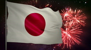 Stock Video Footage of Flag of Japan and fireworks