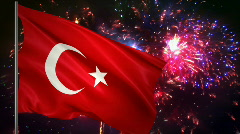 Flag of Turkey and fireworks  Stock Footage